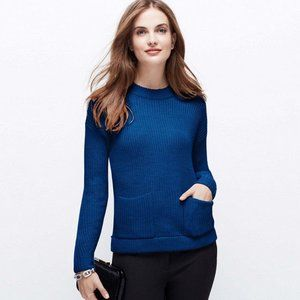 Ann Taylor Merino Blend Crew Patch Pocket Sweater